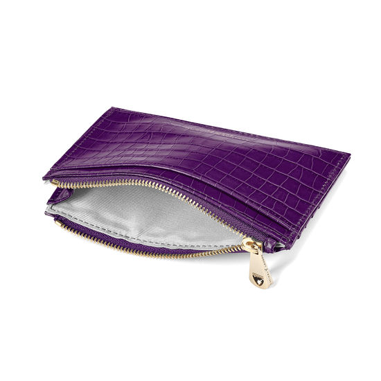 Double Sided Zipped Card & Coin Holder in Deep Shine Amethyst Small Croc from Aspinal of London