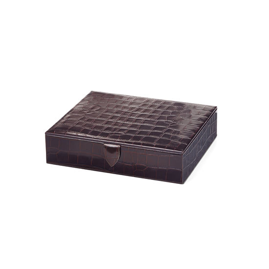 Gents Accessory Case in Deep Shine Amazon Brown Croc & Stone Suede from Aspinal of London