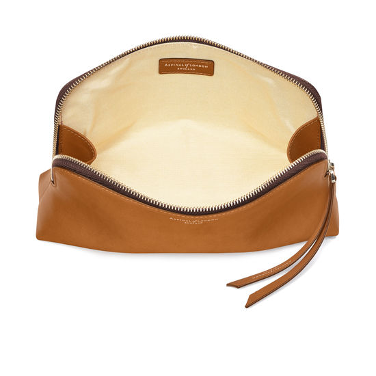 Large Essential Cosmetic Case in Smooth Tan from Aspinal of London