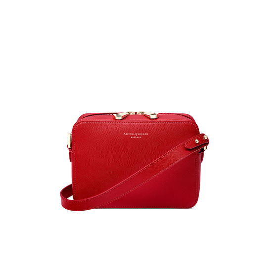 Camera Bag in Scarlet Saffiano from Aspinal of London