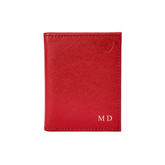ID & Travel Card Case in Scarlet Saffiano from Aspinal of London
