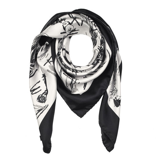 Giles x Aspinal (Ladies' Silk Scarf - Monochrome) from Aspinal of London