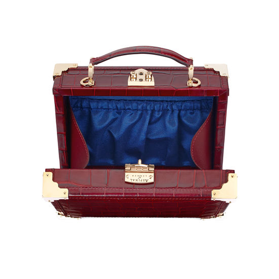 Mini Trunk Clutch in Deep Shine Bordeaux Croc with Zig Zag Strap from Aspinal of London