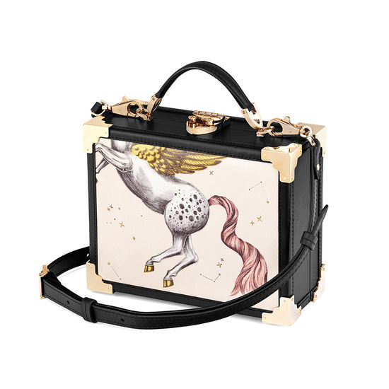 Mini Trunk Clutch in Pegasus Ivory Print from Aspinal of London