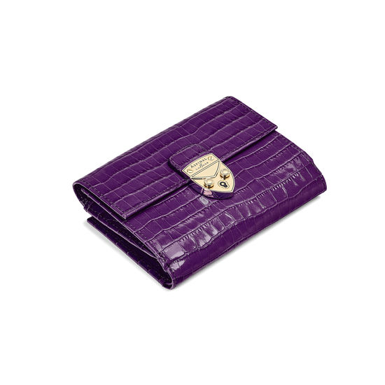 Small Mayfair Purse in Deep Shine Amethyst Small Croc from Aspinal of London