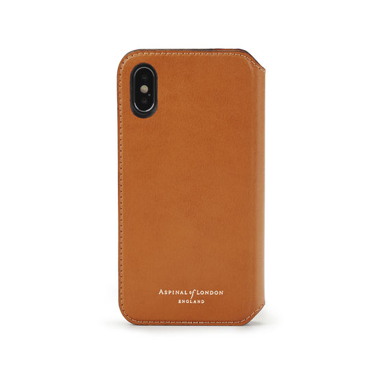 iPhone X Leather Book Case in Smooth Tan from Aspinal of London