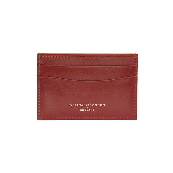 Slim Credit Card Case in Smooth Cognac & Espresso Suede from Aspinal of London