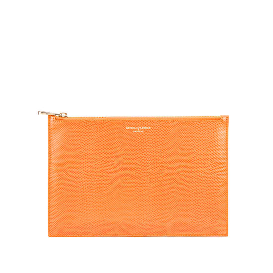 Large Essential Flat Pouch in Orange Lizard from Aspinal of London