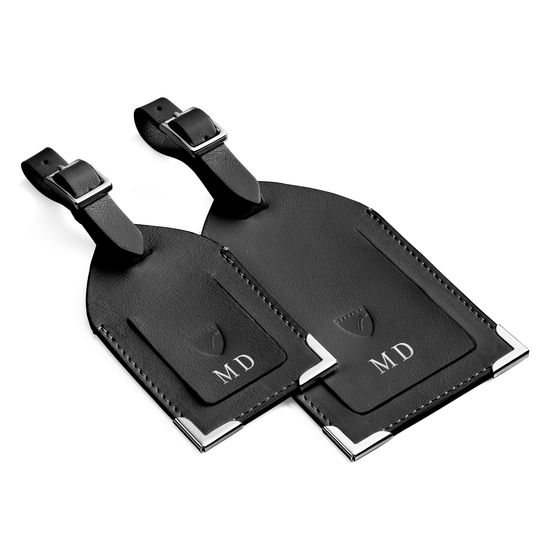 Set of 2 Luggage Tags in Smooth Black with Grey Contrast Stitching from Aspinal of London