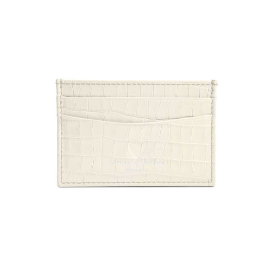 Slim Credit Card Case in Deep Shine Ivory Small Croc from Aspinal of London