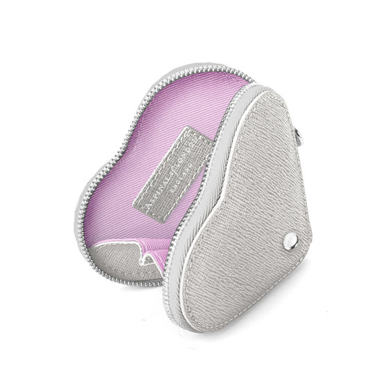 Heart Coin Purse in Silver Saffiano from Aspinal of London