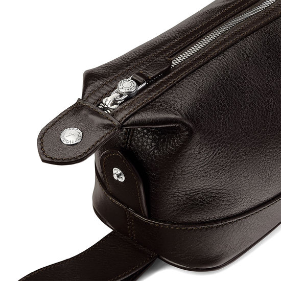 Aerodrome Zip Washbag in Dark Brown Pebble from Aspinal of London