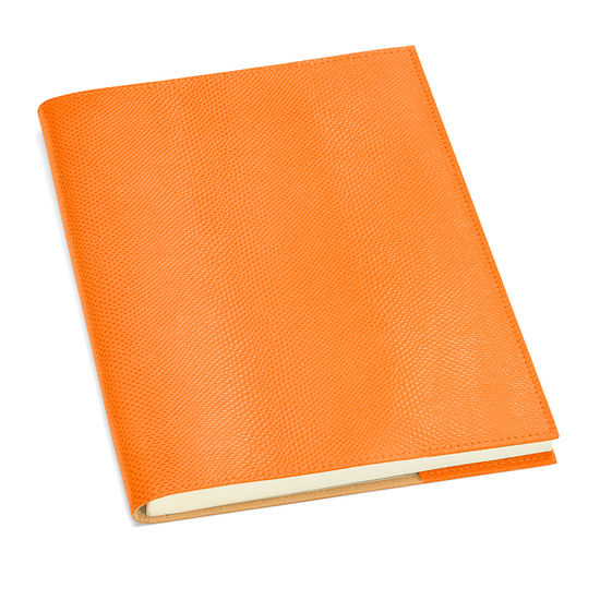 A4 Refillable Leather Journal in Orange Lizard from Aspinal of London