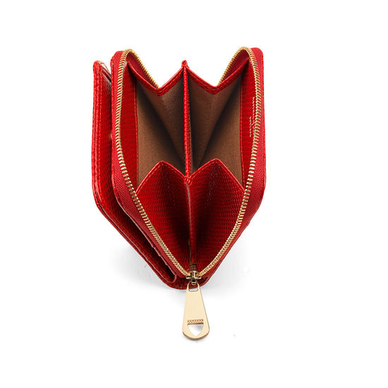 Mini Continental Zipped Coin Purse in Berry Lizard from Aspinal of London