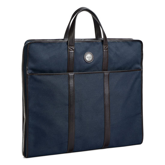 Aerodrome Travel Carrier in Navy Canvas & Dark Brown Pebble from Aspinal of London