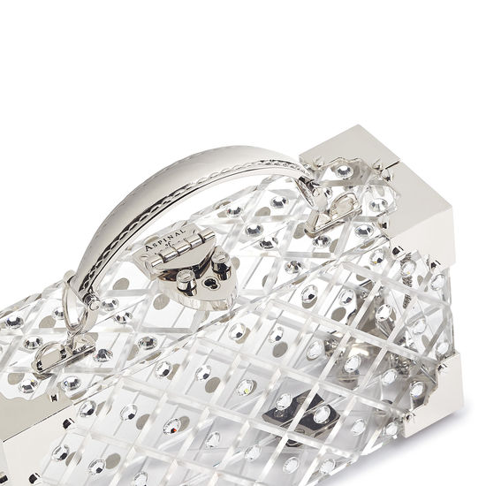 Trinket Box in Diamond Cut Transparent Acrylic with Silver Crystals from Aspinal of London