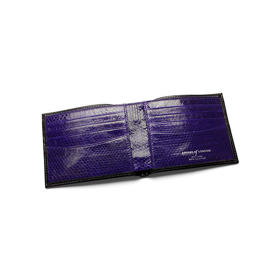 8 Card Double Billfold Wallet in Smooth Black with Cobalt Blue Snakeskin from Aspinal of London