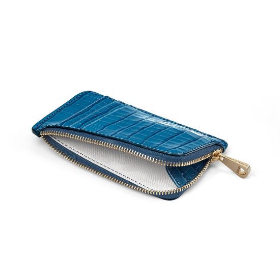 Small Zipped Coin Purse in Topaz Small Croc from Aspinal of London
