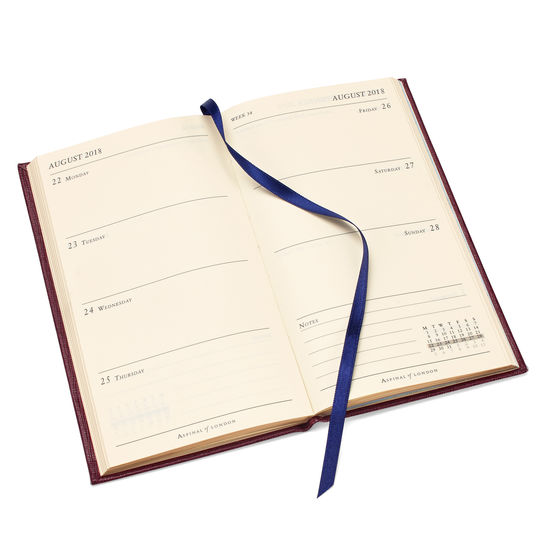Slim Pocket Leather Diary in Midnight Blue Lizard from Aspinal of London