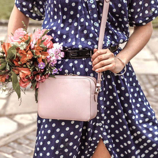 Camera Bag in Peony Saffiano from Aspinal of London