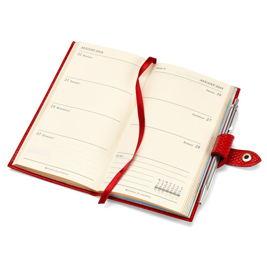 Slim Pocket Leather Diary with Pen in Berry Lizard from Aspinal of London