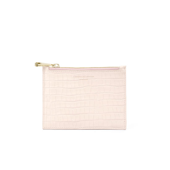 Small Essential Flat Pouch in Deep Shine Shell Pink Small Croc from Aspinal of London