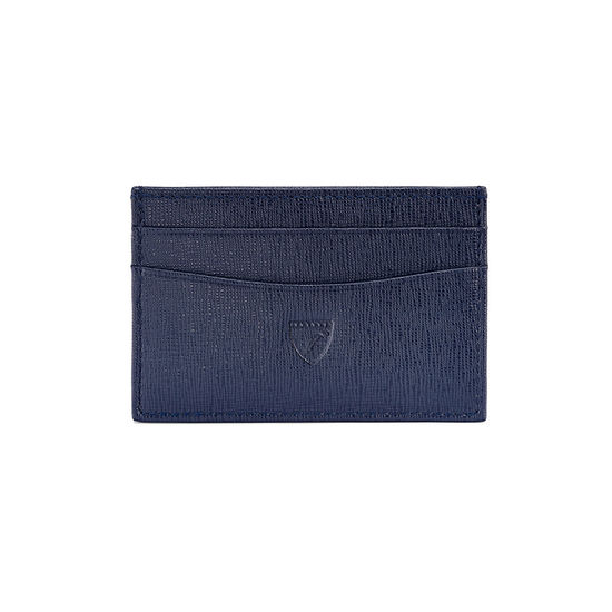 Slim Credit Card Case in Navy Saffiano & Cream Suede from Aspinal of London