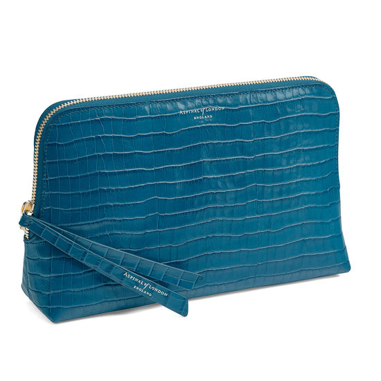 Large Essential Cosmetic Case in Deep Shine Topaz Small Croc from Aspinal of London
