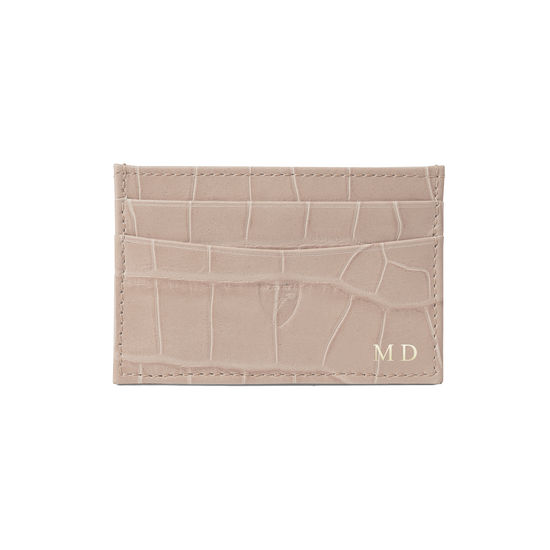 Slim Credit Card Case in Deep Shine Soft Taupe Small Croc from Aspinal of London