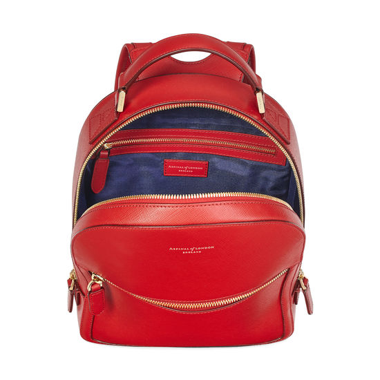 Small Mount Street Backpack in Scarlet Saffiano from Aspinal of London