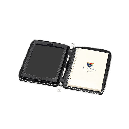 Continental Zipped iPad Mini Case with Notebook in Black Saffiano from Aspinal of London