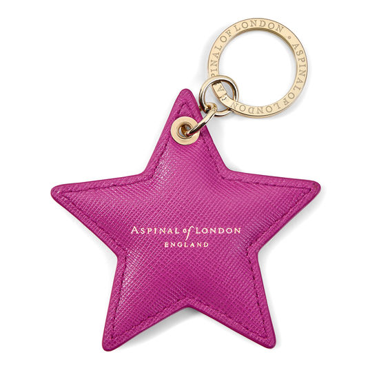 Star Keyring in Orchid Saffiano from Aspinal of London