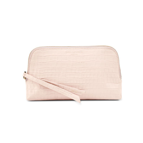 Small Essential Cosmetic Case in Deep Shine Shell Pink Small Croc from Aspinal of London