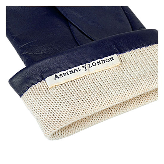 Ladies' Cashmere Lined Leather Gloves in Navy from Aspinal of London