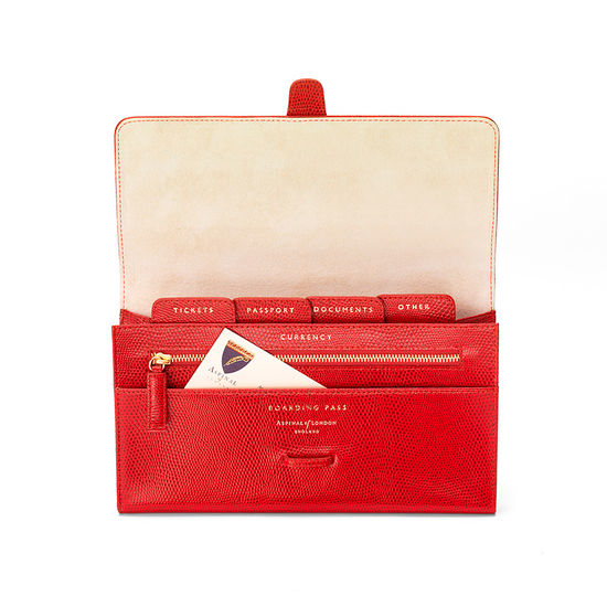 Classic Travel Wallet in Berry Lizard & Cream Suede from Aspinal of London