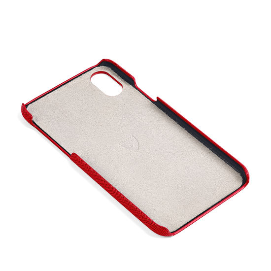 iPhone X Leather Cover in Scarlet Saffiano from Aspinal of London
