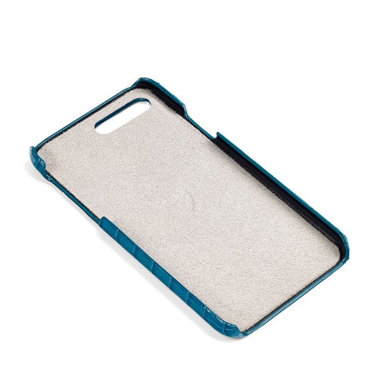 iPhone 7 Plus Leather Cover in Deep Shine Topaz Small Croc from Aspinal of London