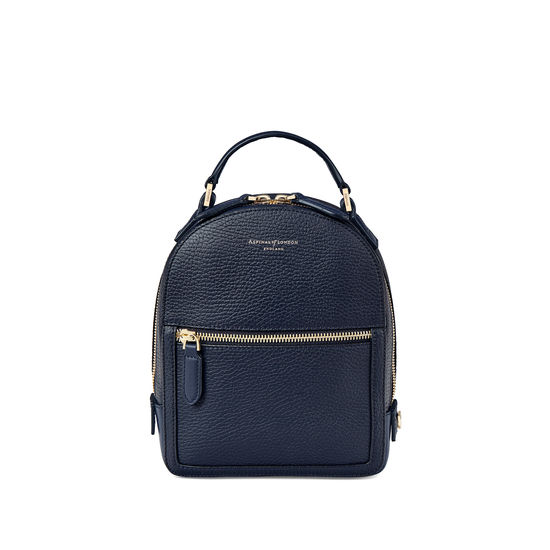 Micro Mount Street Backpack in Navy Pebble from Aspinal of London