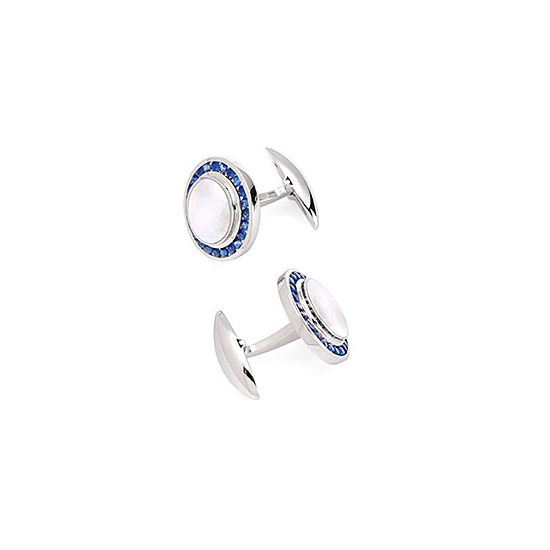 Round Mother of Pearl Cufflinks Gemset with Cluster Sapphires in 9ct White Gold from Aspinal of London