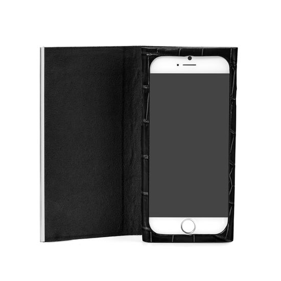 iPhone 6 Leather Book Case in Deep Shine Black Croc & Black Suede from Aspinal of London