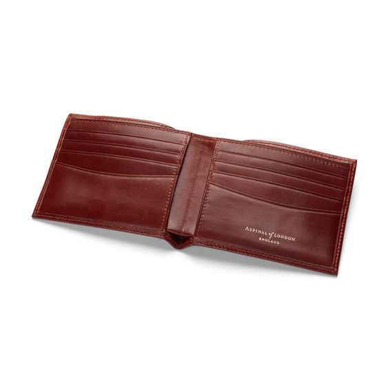 8 Card Billfold Wallet in Smooth Cognac & Espresso Suede from Aspinal of London