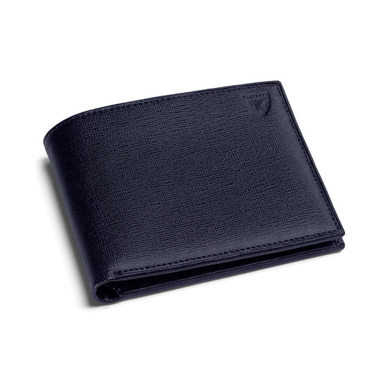 8 Card Billfold Wallet in Navy Saffiano & Black Suede from Aspinal of London