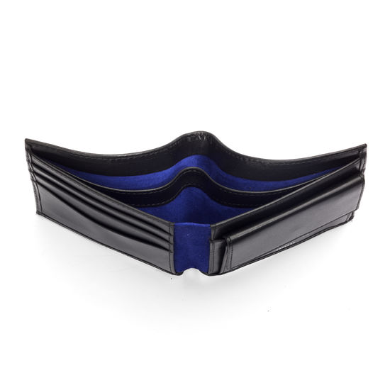 Billfold Coin Wallet in Smooth Black & Cobalt Suede from Aspinal of London