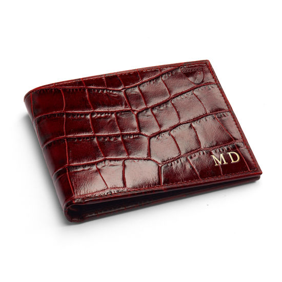 Billfold Coin Wallet in Deep Shine Amazon Brown Croc & Stone Suede from Aspinal of London