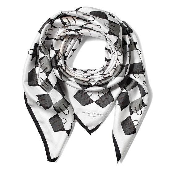Marylebone Geometric Silk Scarf in Monochrome from Aspinal of London