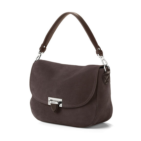 Slouchy Saddle Bag in Smokey Grey Nubuck from Aspinal of London