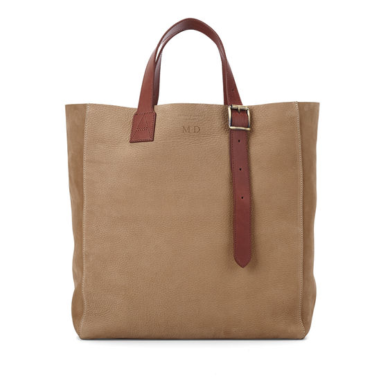 Editor's 'A' Tote in Fog Nubuck & Smooth Tan from Aspinal of London