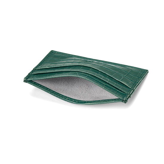 Slim Credit Card Case in Deep Shine Sage Small Croc from Aspinal of London