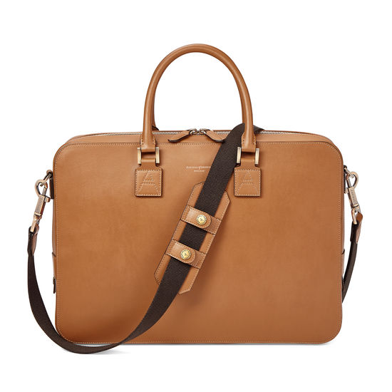 Small Mount Street Laptop Bag in Smooth Tan from Aspinal of London