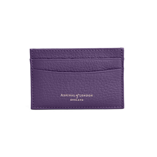 Slim Credit Card Case in Amethyst Pebble from Aspinal of London